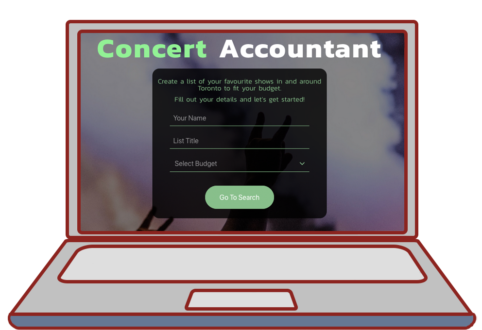 cartoon illustration of a laptop with the concert accountant project diplayed on the screen